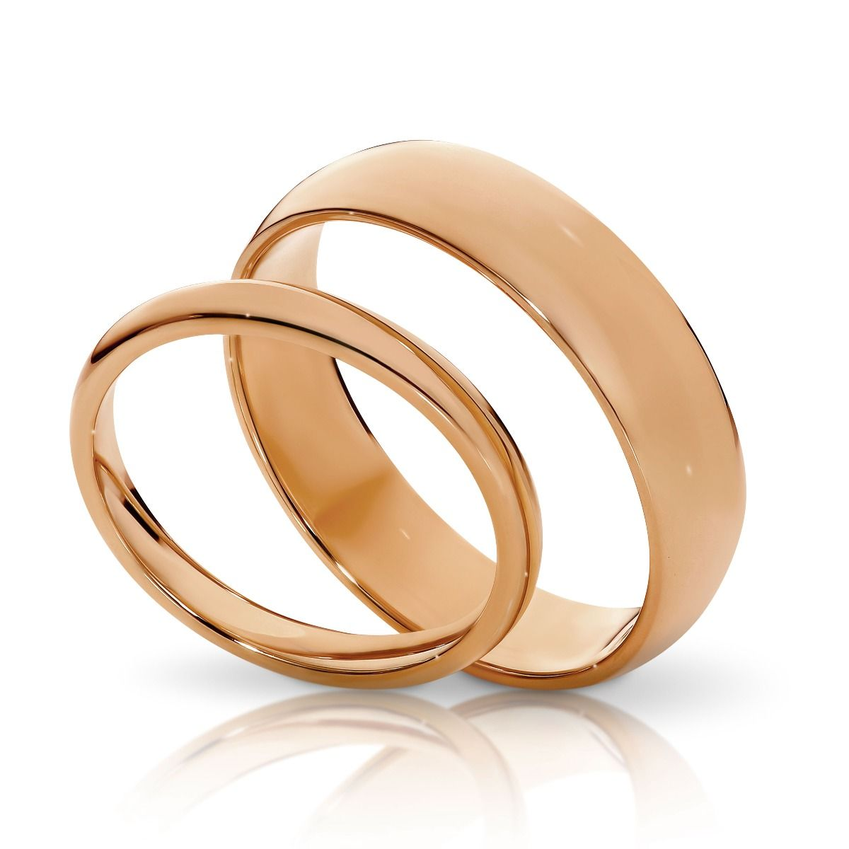 Classic His Hers Matching Wedding Bands Rose Gold